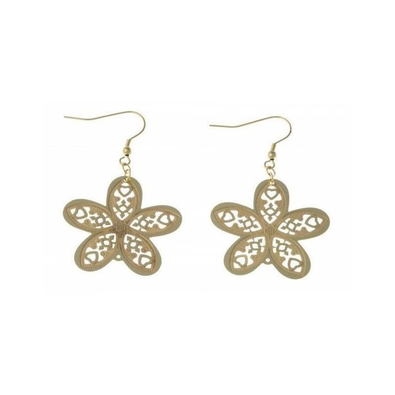 Bijou boucle d'oreille fleur en acier inoxydable doré fantaisie pour femme - Myra