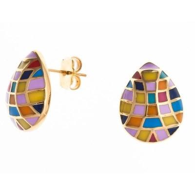 Bijou boucle d'oreille multicolore en acier dor