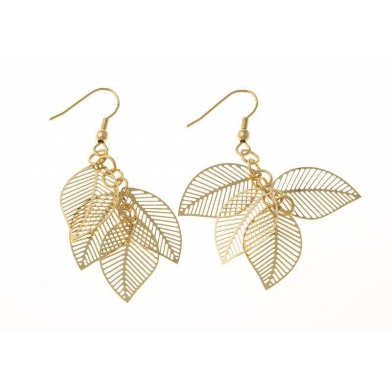 Boucles d'oreilles bijou fantaisie pour femme en acier doré - Plume
