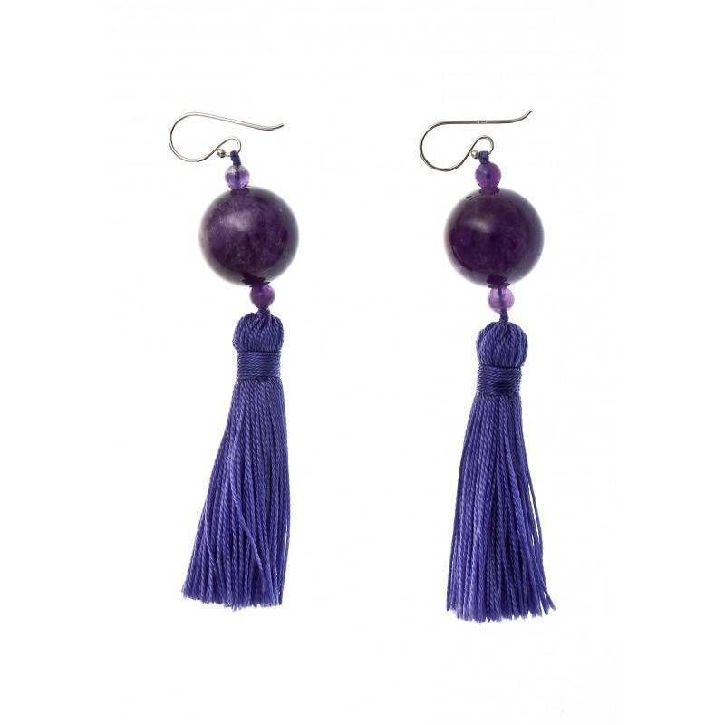 Boucles d'oreilles fantaisie pour femme argent et améthyste - Pompon