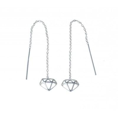 Bijou boucle d'oreille argent fantaisie pour femme - Diamant