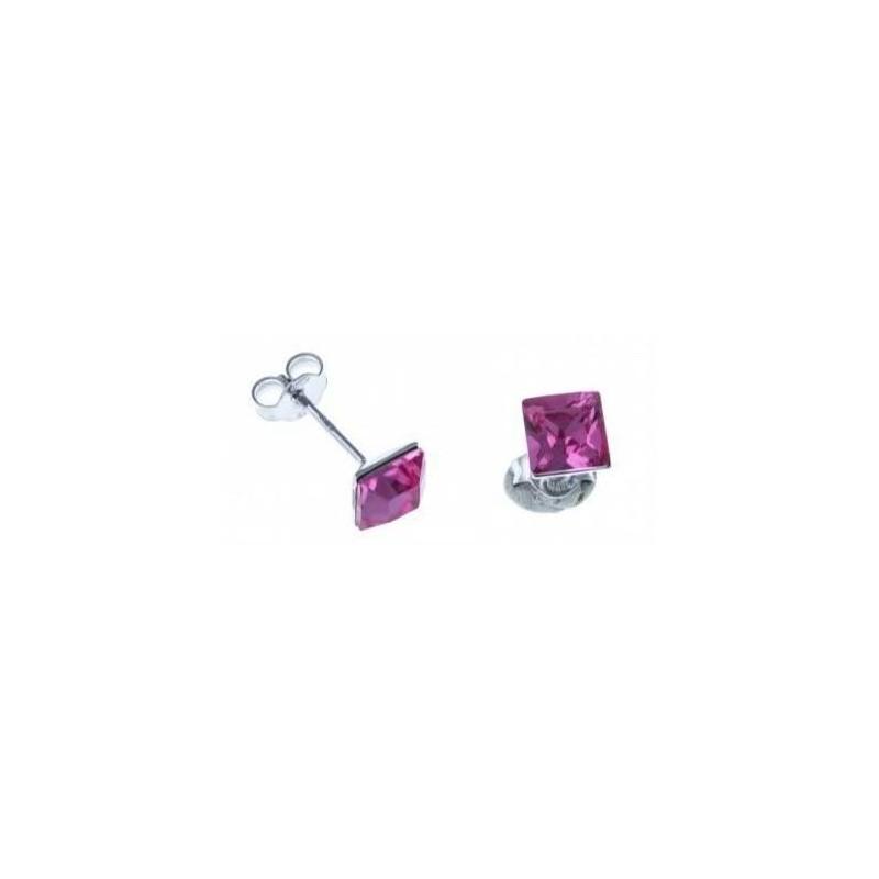 Boucles d'oreilles bijou fantaisie pour femme en argent - Olympe rose