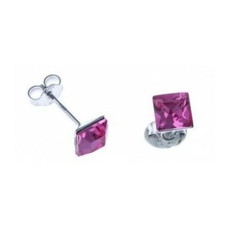 Boucles d'oreilles argent femme - Olympe rose