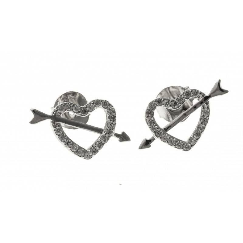 Boucles d'oreilles bijou fantaisie pour femme en argent - Cupidon