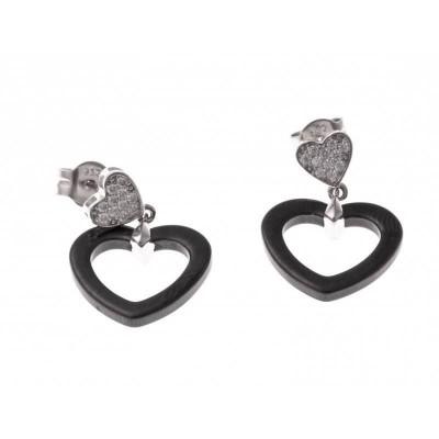 Boucles d'oreilles fantaisie pour femme argent et céramique noire - Lova