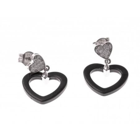 Boucles d'oreilles en argent et céramique noire - Lova