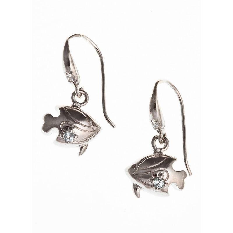 Boucles d'oreilles bijou fantaisie pour femme en argent - Océan