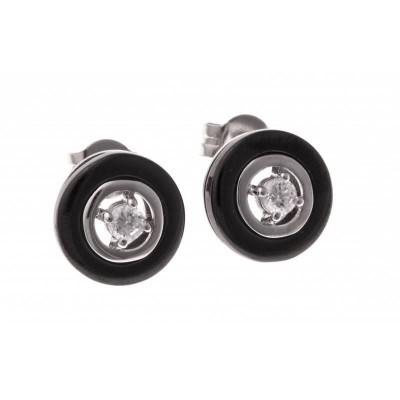 Boucles d'oreilles fantaisie pour femme argent et céramique noire - Volea