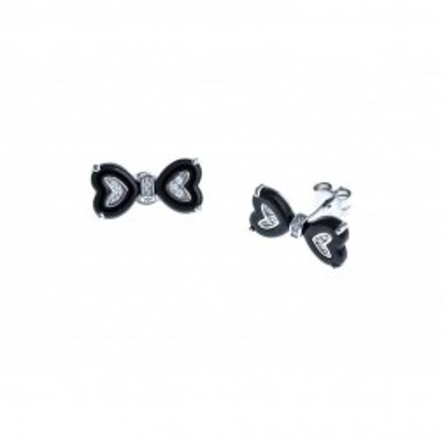 Boucles d'oreilles argent et céramique noire - Nœud