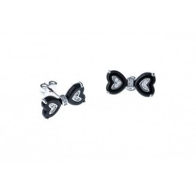 Boucles d'oreilles fantaisie pour femme argent et céramique noire - Noeud
