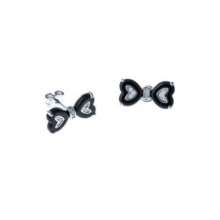 Boucles d'oreilles argent et céramique noire femme - Noeud