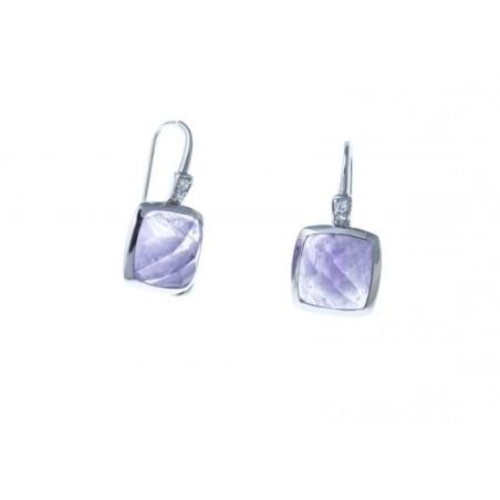 Boucles d'oreilles femme argent et améthyste - Saska