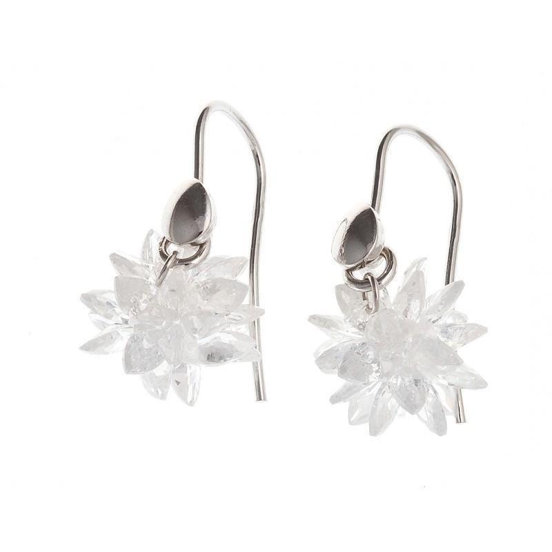 Boucles d'oreilles bijou fantaisie pour femme en argent - Flocon