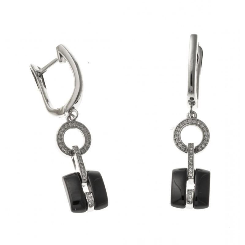 Boucles d'oreilles fantaisie pour femme argent et céramique noire - Tonka