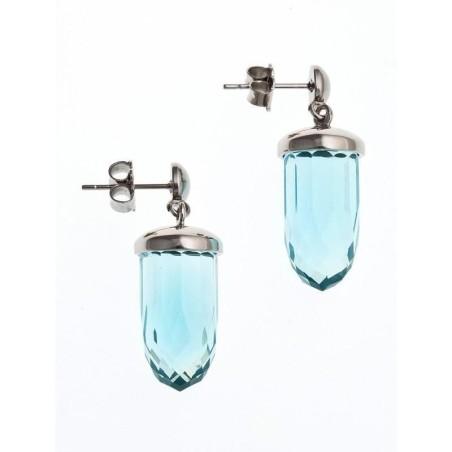 Boucles d'oreilles acier et verre pour femme - Luminosa Turquoise