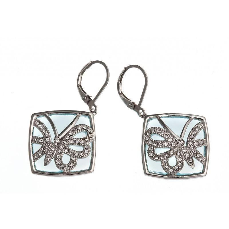 Bijou boucle d'oreille papillon en acier inoxydable, cristal et verre bleu pour femme - Lagune