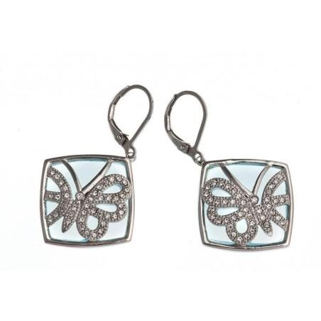 Boucles d'oreilles acier, cristal et verre bleu - Lagune