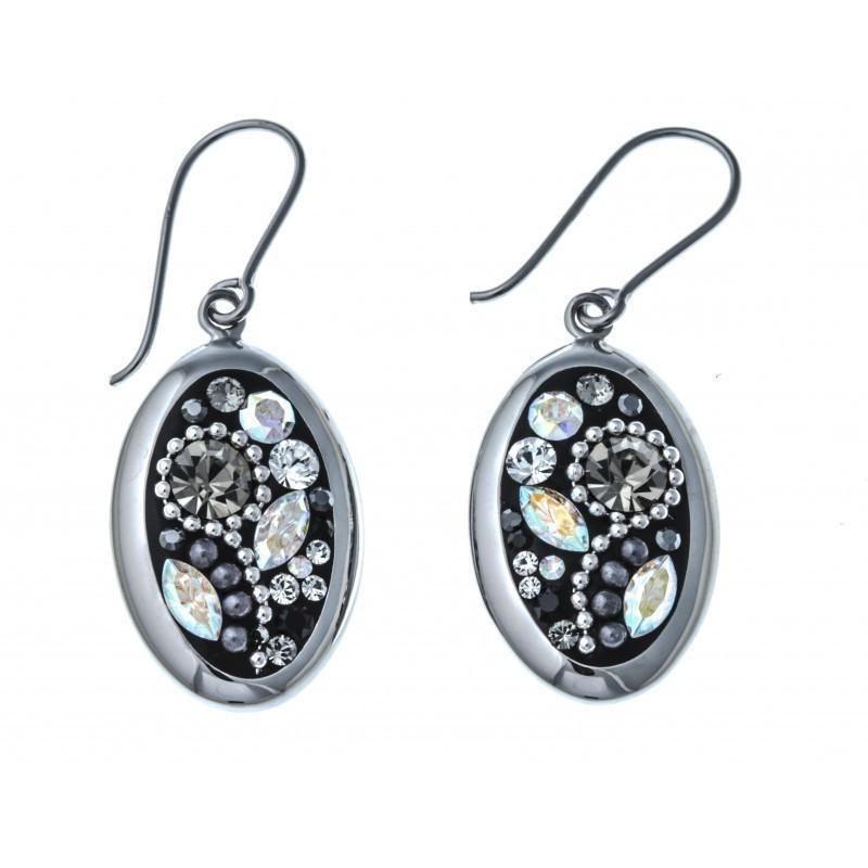Boucles doreille en argent rhodié 5,2g - cristal et perles de swarovski