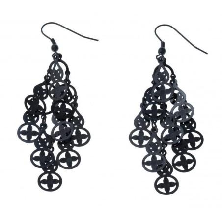 Boucles d'oreilles acier noir femme - Hélice