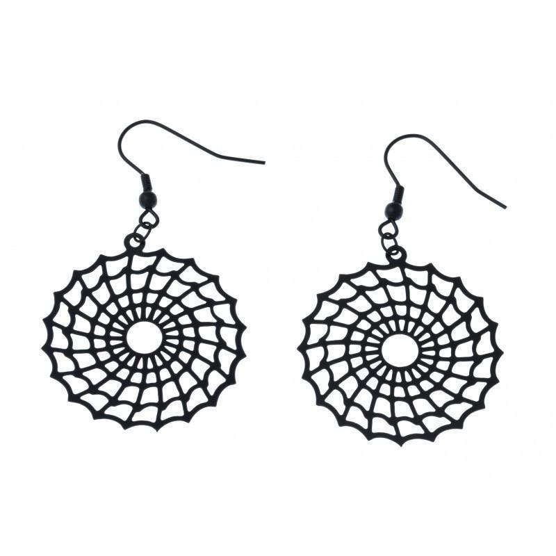Boucles d'oreilles bijou fantaisie pour femme en acier noir - Spider