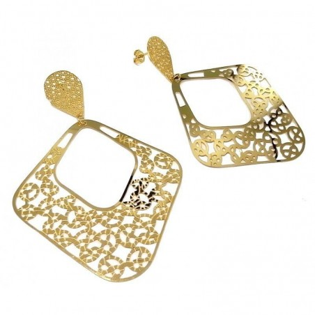 Boucles d'oreilles acier doré femme - Lady