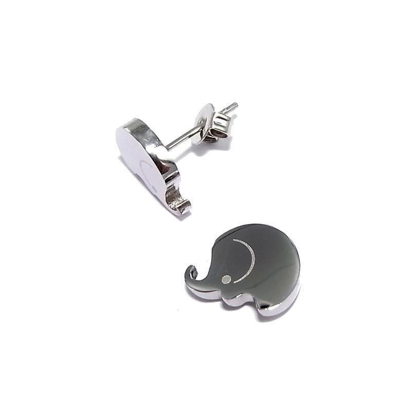 Boucles d'oreilles bijou fantaisie en acier - Eléphant