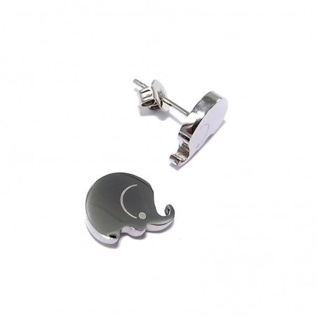 Boucles d'oreilles en acier - Eléphant