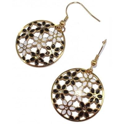 boucles d'oreilles bijou fantaisies bijou créoles fantaisie pour femme en acier doré - Florilège
