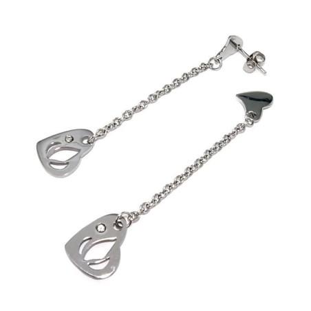 Boucles d'oreilles coeur en acier femme - Dalla