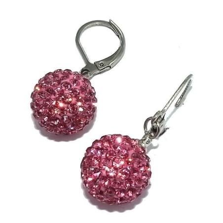Boucles d'oreilles acier et cristal rose - Pink-Lady