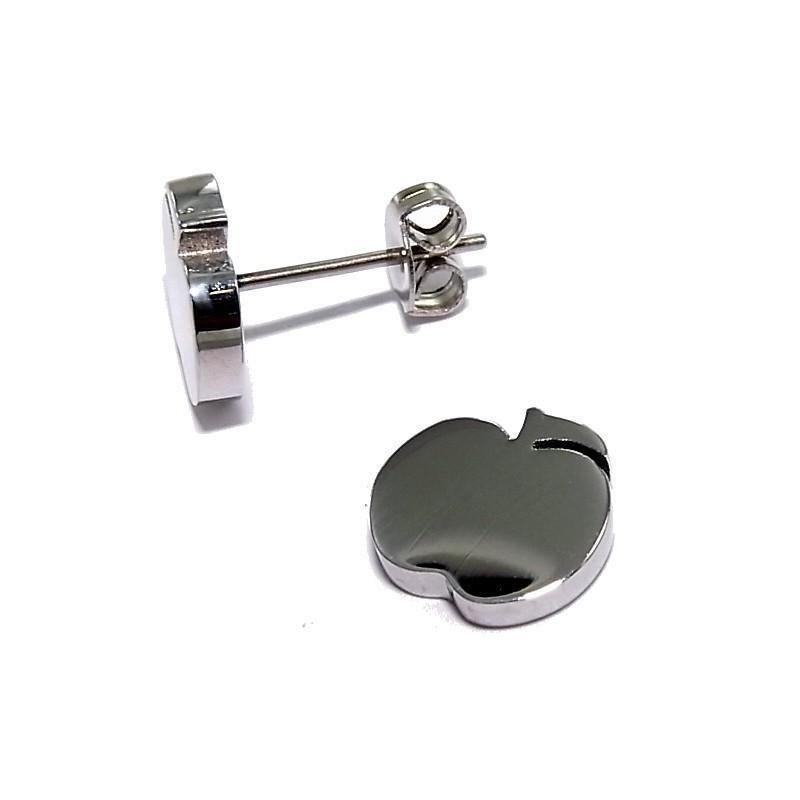 Bijou boucle d'oreille acier inoxydable fantaisie - Pomme