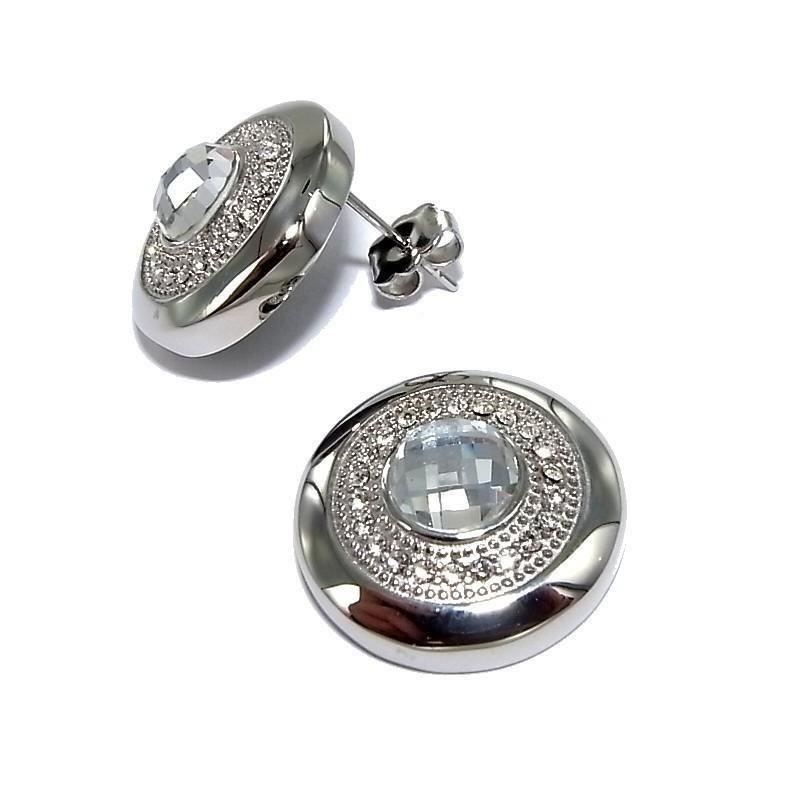 Bijou boucle d'oreille acier inoxydable fantaisie avec cristal blanc pour femme - Magie