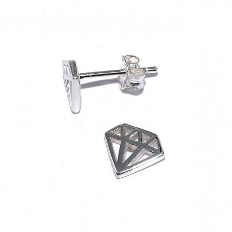 Boucles d'oreilles fantaisie pour femme argent - Diamond