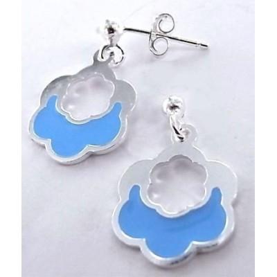 Boucles d'oreilles fantaisie pour femme argent et émail bleu - Nuage