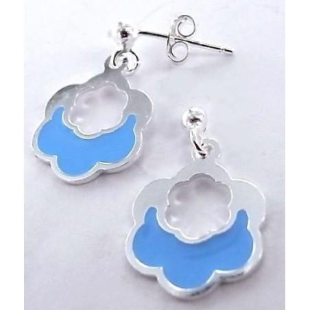Boucles d'oreilles en argent et émail bleu - Nuage