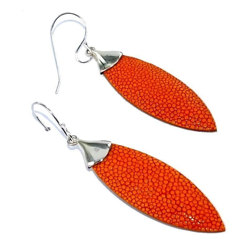 Bijou boucle d'oreille Galuchat Orange fantaisie pour femme - Plume