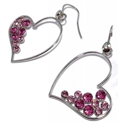 Boucles d'oreilles bijou fantaisie pour femme en argent - coeur Passion
