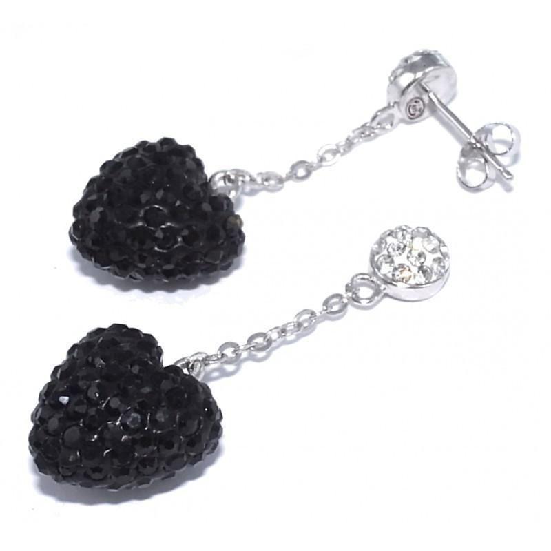 Boucles d'oreilles bijou fantaisie pour femme en argent - coeur Noir