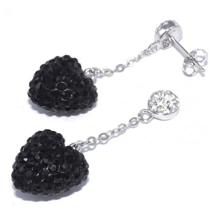 Boucles d'oreilles argent femme - Coeur Noir