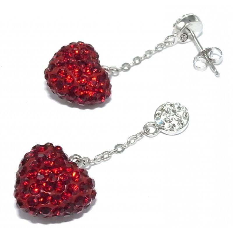 Boucles d'oreilles bijou fantaisie pour femme en argent - coeur Rouge