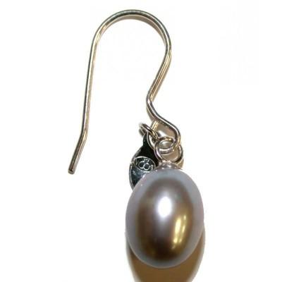 Boucles d'oreilles bijou fantaisie pour femme en perle grise - Anya