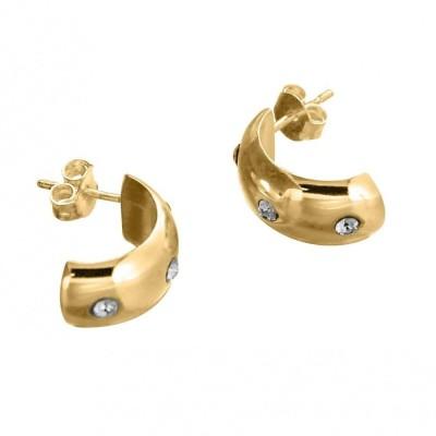 Boucles d'oreilles tendance plaqué or, cristal de Swarovski Louise Zoé Bijoux - Demi-créole