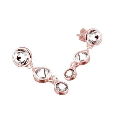 Boucles d'oreilles tendance femme cristal de Swarovski Louise Zoé Bijoux - Chute Rose