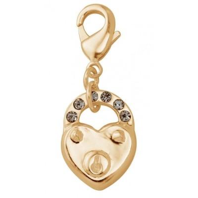Charm femme en plaqué or, cristal de Swarovski - Coeur cadenas
