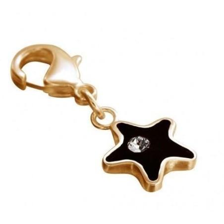 Charm en plaqué or, résine noire, Swarovski - Black Star