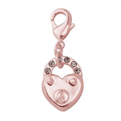 Charm femme en plaqué or rose, cristal de Swarovski - Coeur cadenas