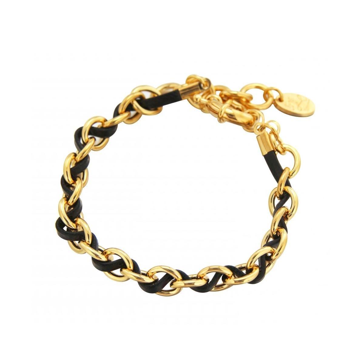 bracelet gourmette tendance pour femme en plaqu or et. Black Bedroom Furniture Sets. Home Design Ideas