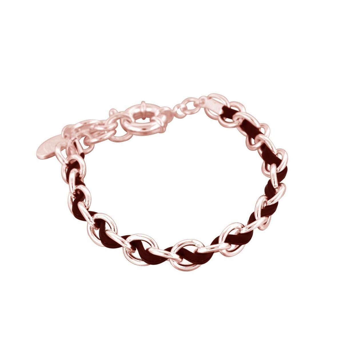 bracelet plaqu or rose et cuir noir louise zo bijoux. Black Bedroom Furniture Sets. Home Design Ideas