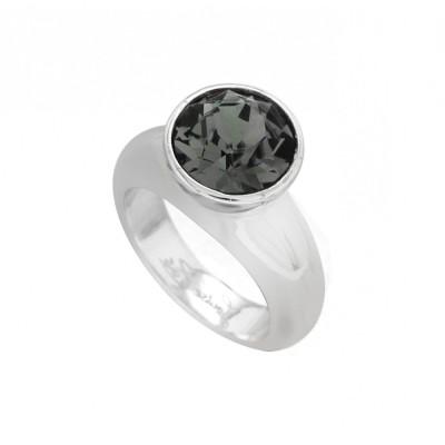 Bague pour femme en argent et cristal de Swarovski® noir LZ - Solitaire