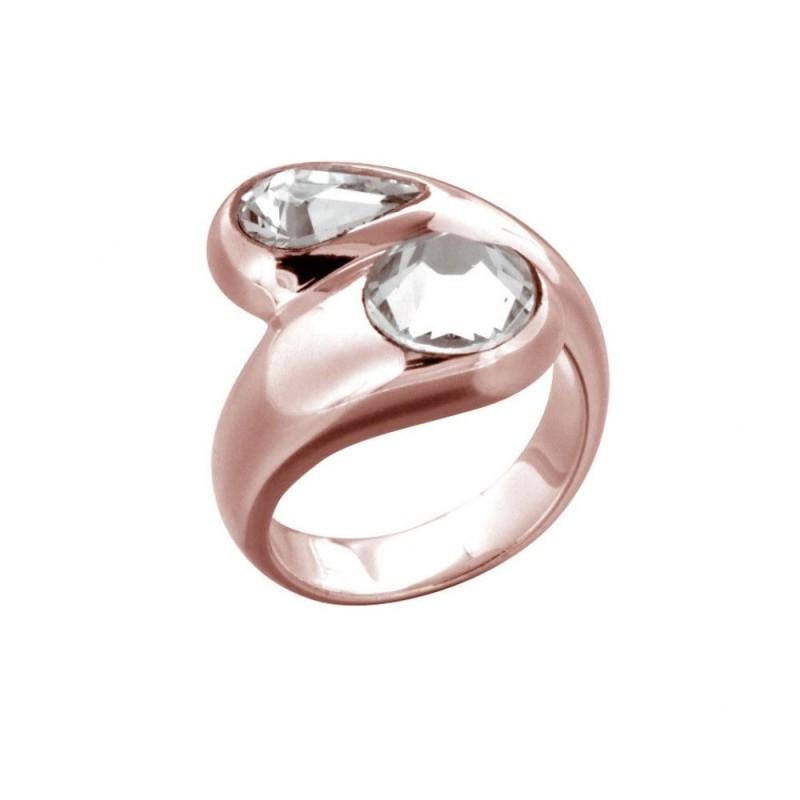 bague tendance pour femme en plaqué or rose et cristal de Swarovski Louise Zoé Bijoux - Toi et Moi